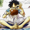Luffy, reading a book with his feet.