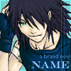 "Art of a black-haired Riku Replica, with text reading ""a brand new name"""