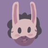 A girl with a bunny mask on