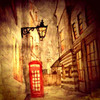 Water colour painting of London side street.