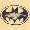Batman Logo with a ball of yarn and knitting needles in the center