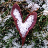 A snow-dusted red autumn leaf shaped like a stylized heart, lying on snowy grass