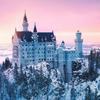 neuschwanstein castle winter sunset