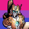 Rung from MTMTE, a skinny orange and white robot with glasses, in front of the Bi Pride flag.