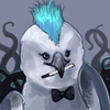 tentacular owl with blue mohawk and bowtie