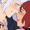 Riku and Kairi from Kingdom Hearts kissing
