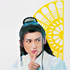 """A drawing of Loki from the Marvel comic """"Agent of Asgard"""", edited to be on a purple background."""