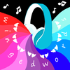 "wingedwords icon - blue headphones with waves of blue, purple, and pink coming out of the speakers. White letters around the edge say ""wingedwords"" and have small white wings repeating above them."