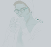 Hipster Jason Grace, drinking coffee and looking amazing, by Yvie.