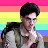 Harold Ramis starring as Dr. Egon Spengler in Ghostbusters with the gay pride flag behind him.