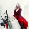 red dress lady on a horse