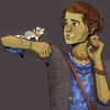Digital portrait of Frith, a nonbinary orc with green skin and brown hair in a bun, with their forearm raised and Fortesque, a white mouse with a yellow ribbon, standing on it.