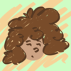 "A badly drawn girl, with brown skin and curly brown hair, and an ""eh"" facial expression"