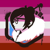 Profile of Mei Ling Zhou with lesbian flag background