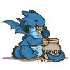 A cute blue dragon eating chocolate chip cookies