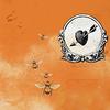 bees on an orange background (by misprintedtype)