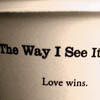 Text: the way I see it, love wins
