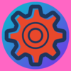 A stylised icon of a red gear inside a blue circle, on a magenta background.