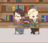Chibby Draco and Harry holding hands in the library