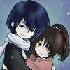 Saito Hajime (Hakuouki with indigo hair and white scarf) holding Yukimura Chizuru (Hakuouki with brown hair and pink kimono) in chibi form