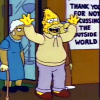 Abe Simpson beside a sign that says thank you for not discussing the outside world at Springfield Retirement Castle