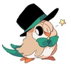 A Rowlet in a top hat, winking