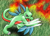 Charovyle. A green and red charmeleon with leaves portuding from the arms and the back of the head. It has just leaned forward to swipe with its claws. The background is a combination of fire from the tail-flame and grass.