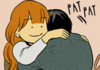 "a comic of a girl hugging someone and patting them on the back, with the text reading ""pat, pat"""