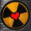 nuclear radiation symbol with a heart in the middle