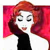 retro 1930s style picture of a lady with red hair and black satin glove