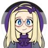 The icon is a picrew. In it is a young woman with fair freckled skin, long blond hair and pale blue eyes. She is wearing light brown glasses and a purple shirt under dungarees. The background is that of a seascape in tones of blue.