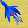 Blue and purple fuchsia on yellow background, all with lace-like pattern