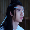 Lan Zhan worriedly looking up at his head ribbon thinking it's crooked