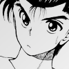 Urameshi Yusuke looking off to the side confused