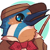 icon is a digital drawing of a kingfisher bird in blue and beige, wearing a brown newsboy cap, brown jacket and red bow tie; it is an artistic interpretation of the character toussaint from the game aviary attorney