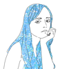 Drawing of girl with long blue hair