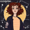 A picrew of a white woman with red curly hair wearing a yellow shirt and a blue jacket. The background is blue with a yellow circle around the woman and constellations
