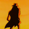 Inspector Zenigata, standing with his back to the viewer, in front of a sunset.