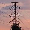 Power line against evening sky.