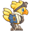 [image description] A super-deformed drawing of Alpha, a Final Fantasy chocobo, seen in profile facing right. He has yellow feathers and blue eyes, and wears a fur-lined blue coat and goggles on his head.