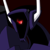 This icon is an image of Shockwave from Transformers: Animated casting a vaguely disinterested look towards the bottom right corner. It is dark and Shockwave's optic is glowing red and half-lidded. Shockwave is wearing his dark purple color scheme.