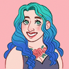 Illustration of Lilac Solanum, a woman with teal hair and a rose chest tattoo