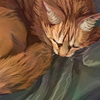 Drawing of a sleeping orange cat