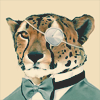 cheetah wearing a suit and monocle