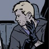 Clint Barton pulling on a glove