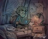 A teenage Dipper Pines, from Gravity falls, is sitting on his bed on a laptop. He is in the dark.