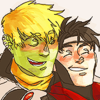 Hulkling and Wiccan cuddling and smiling