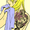Riza's back with scar and tattoo