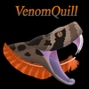 A headless snake with an open mouth whose venom drips into a phoenix quill.