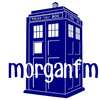 morgan f m logo - a image of the Tardis on a white background with the word morgan f m overlayed in blue and white letters